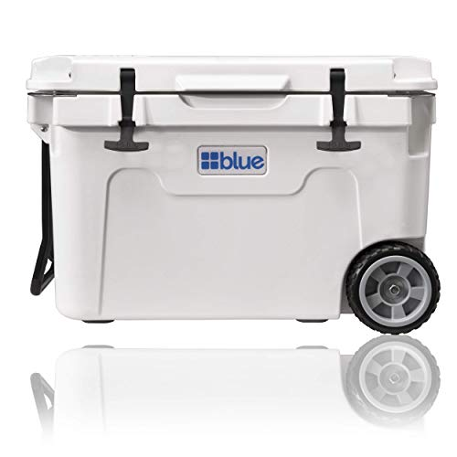 Blue Coolers Ice Vault – 55 Quart, Roto-Molded Ice Cooler with Wheels | Large Ice Chest Holds Ice up to 10 Days | Arctic White