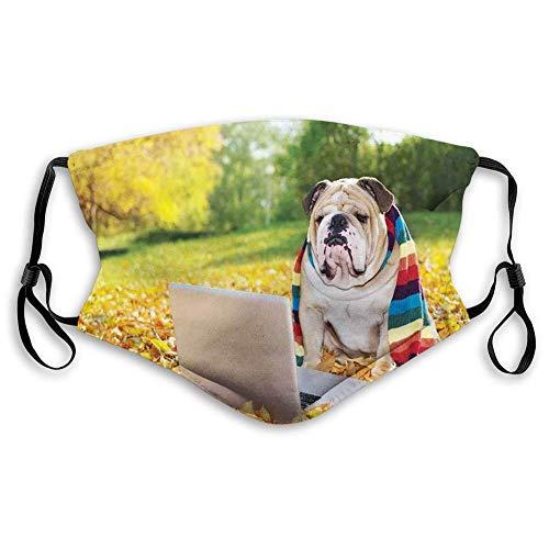 TABUE Gezicht Guard Mond Cover Engels Bulldog, Hond In Het Park Met Een Laptop En Regenboog Gekleurde Sjaal Grappige Fotografie