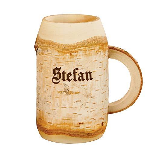 Geschenke 24 Holz Bierkrug mit Gravur 0,4l Geburtstagsgeschenke mit Name - personalisierte Bier Geschenke für Männer, Väter, Freund