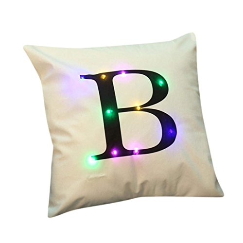 "ZUODU Creative LED Colorful Flashing Velvet Letter Cushion Cover Pillow Cover Bar Use Party Use Festival Use Gift Use18""x18"" or 45cm x 45cm 1pc (B)"