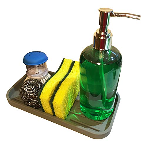 Organizador de esponja para fregadero de cocina, organizador de fregadero de baño, para esponjas, dispensador de jabón, estropajo, soporte para cepillo para polvo de lavaplatos, soporte para cepillo para polvo de dientes, soporte para pasta dental (2 unidades)