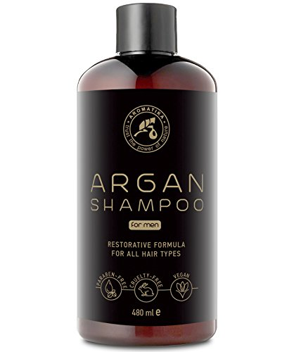 Shampooing avec Huile de Argan pour Homme 480ml - Naturelle Argan Oil Shampoo et Extraits d'herbes pour tous les Types de Cheveux - Formule de Restauration Spéciale - Soin des Cheveux