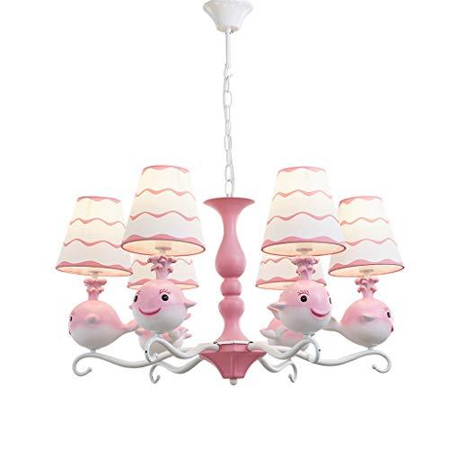 JLXW plafondlamp Creative Balena Modern hanglamp pastelorale lampenkap van stof 6-spots in hoogte verstelbaar voor slaapkamers
