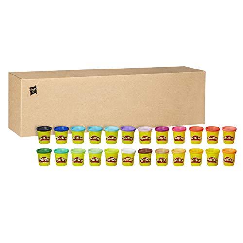 La caja de colores tiene mucha plastilina Play-Doh Incluye 24 botes Es óptima para jugar con amigos y para fiestas