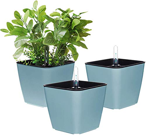 T4U 13.5CM Self Watering Plastic Planter with Water Level Indicator Pack of 3 - Blue, Modern Decorative Planter Flower Pot for House Plants, Herbs, Aloe, African Violets, Succulents and More