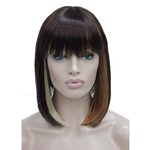 Lydell 10' Short Bob Wigs No Part Full Synthetic Hair Wig (AB01)