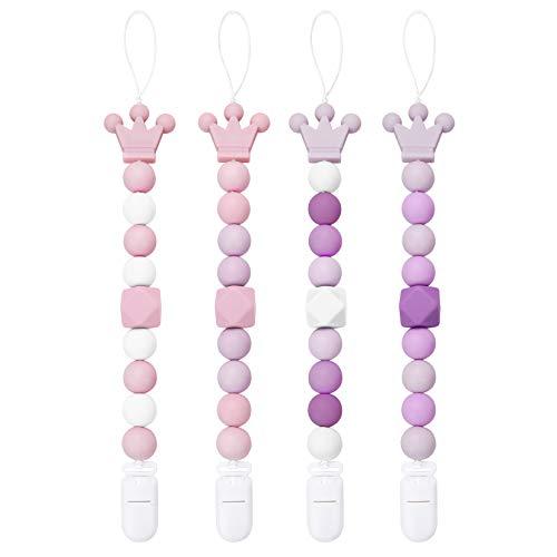 Yoofoss Chupetero para Bebé con Libre de BPA Bola Silicona, Universal Chupete Clip Cadena para Niño Muchachas Infantil (Rosado Púrpura)