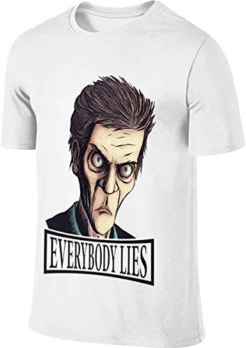 Dr-House Everybody Lies Fashion Design T-Shirt for Man,White,4X-Large