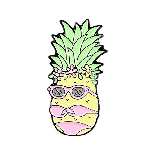 Chica de piña con gafas de sol con bikini beach vacaciones creativa creativa fruta broche esamel lapel pines
