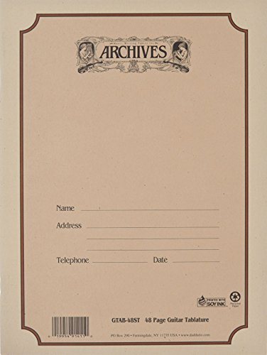 Archives Standard Bound Manuscript Paper Book, Guitar Tab, 48 Pages