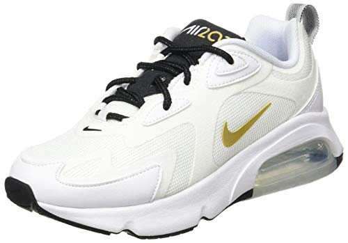 Nike Women's Air Max 200 Running Shoe (7.5, White/Metallic Gold-Black)