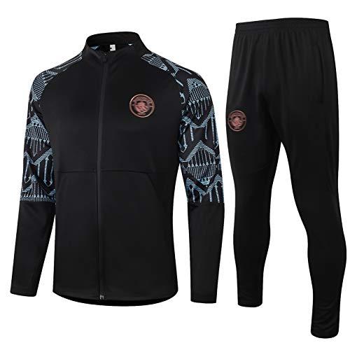 AXEE Conjuntos de Camisetas de fútbol Mǎnchěstěr Hombres - Jerseys de fútbol de Adultos Conjuntos de Manga Larga Jacket Full-Zip Sportswear E-S