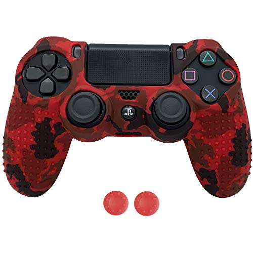 Antil-Slip Silicone Controller Cover Protective Case for PS4/SLIM/PRO Controller Soft Cover Skin for Dualshock 4 Controller with 2 Thumb Grips(Camouflage Red)