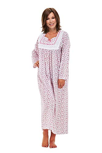 i-Smalls Ladies Easy Fit Langes Nachthemd 100% Baumwolle mit Spitzendetail (2XL) Pink