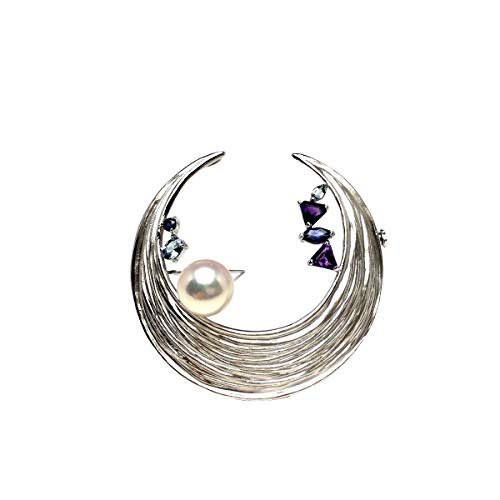 Isowa Pearl(伊勢志摩の真珠専門店 イソワパール) アコヤ真珠 ブローチ 9.2mm ホワイトピンク シルバー 天然石 ムーン 67037