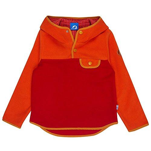 Finkid Joki carrot red Kinder Fleece Hoodie Pullover mit Kapuze