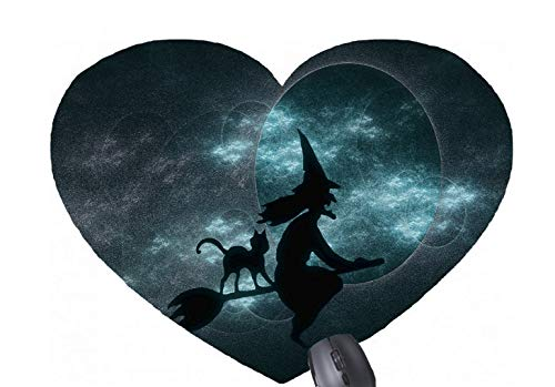 Gaming Mouse Pad Scary Halloween Witches for Desktop and Laptop 1 Pack Heart-Shaped Mouse mat