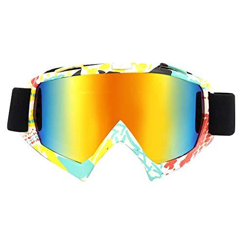 Anticondensbril, heren dames snow snowboard skibril (gele en witte stip)
