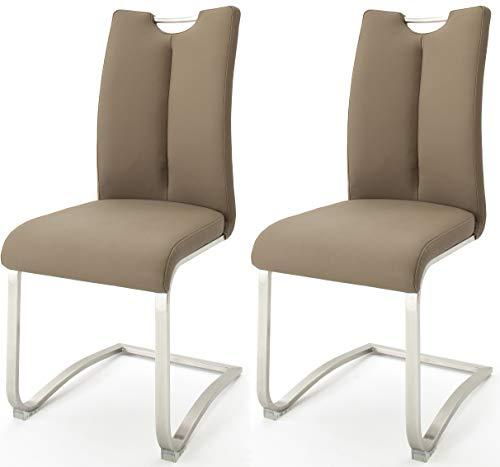 Robas Lund Esszimmerstühle 2er Set Cappuccino, Echtleder Schwingstuhl Esszimmerstuhl max. 140 Kg Belastbar, Stuhl Artos