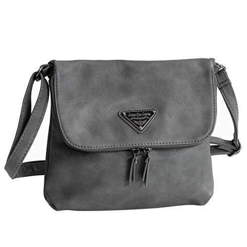 Umhängetasche von Jennifer Jones - kleine sehr geräumige Damen-Handtasche, Damentasche, Schultertasche Ausgeh Tasche (Grau) - präsentiert von ZMOKA®