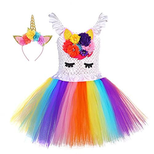 Agoky Disfraz de Navidad Unicornios para Niña Vestido Tutu de Princesa Fiesta Cosplay Carnaval Elegante Traje de Ceremonia Dama de Honor con Diadema 2-12 años Vistoso 9-10 años