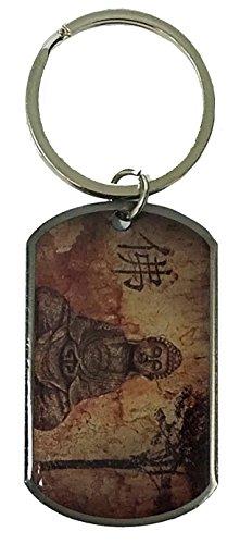 Epoxy Coated BUDDHA/DO NOT DWELL Dog Tag Keychain by Atomic Market