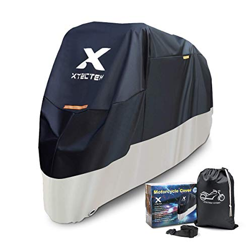 XYZCTEM Motorcycle Cover, Ultra Water Repellent Paint Oxford, 96.6 inches (245 cm), UV Protection, High Windproof, Heat Resistant, Thick Fabric, Dustproof, Rainproof, Snowproof, 6.6 ft (2 m) Band Included, Anti-theft, Black & Silver