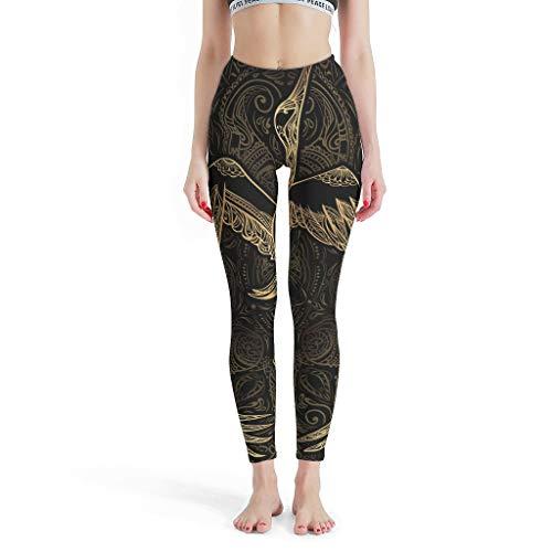 XJJ88 -Paisley Yogahose für Damen, Design Leggings, Gold Kranich Muster, Druck Custom Workout-Hose, Caprihose für Frauen, gestrickte Taille, weiß, M
