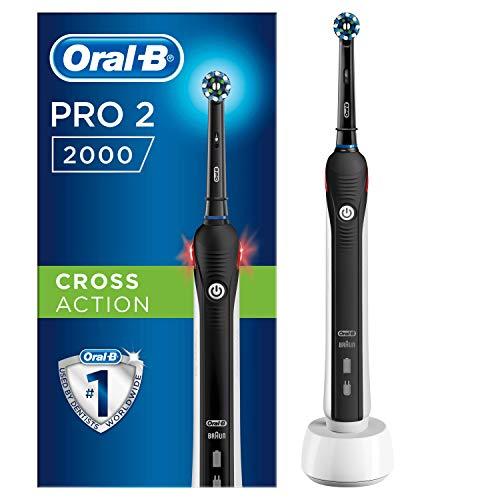 Oral-B 4210201267782 Pro 2 2000 Elektrische Zahnbürste, wiederaufladbar, 1 schwarzer Griff mit Ladegerät, 1 CrossAction Kopf