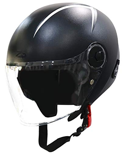 Steelbird SBH-20 Zip Reflective Open Face Helmet (Large 600 MM, Dashing Black...