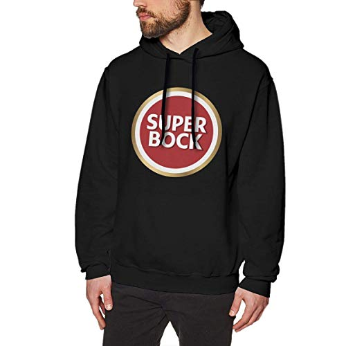 Mens Fashion Print with Super Bock Design Hooded Sweatshirt Black,Black,XX-Large