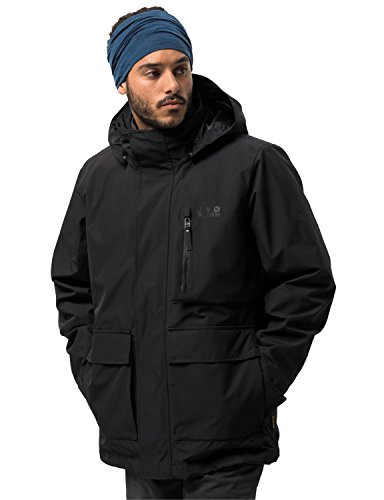 Jack Wolfskin Herren FJAERLAND Jacket 3-in-1-Jacke Wasserdicht Winddicht Atmungsaktiv 3in1-jacke, schwarz, XXL