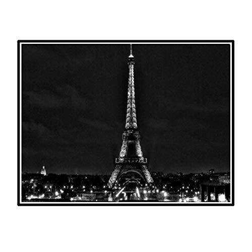 HJZBJZ Night Paris Eiffel Zerbino Personalizzato Home Decor Camera da Letto Tappeto Classico Durevole -20X28 Pollici Senza Cornice 1 Pz