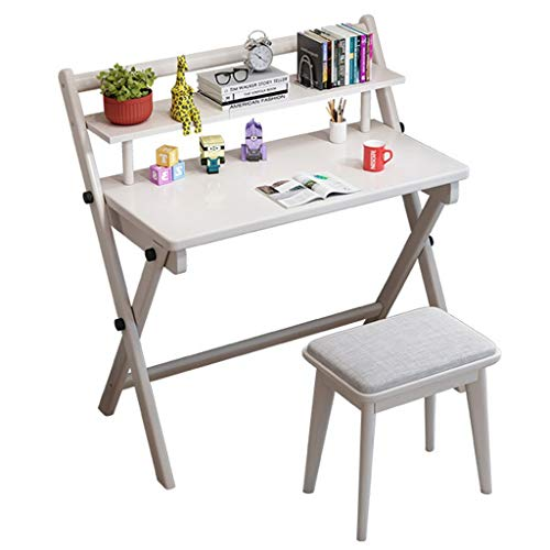 Mesas para ordenador Escritorio pequeño Plegable Simple Escritorio Combinado Estudiante de Escritorio en casa de 90cm Alquiler Dormitorio computadora Escritorio y Silla (Color : Blanco, Size : 60CM)