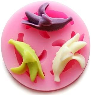 Wholeport Banana Fondant and Gum Paste Silicone Resin Candy Molds Baking Molds Cake Decoration 3 Hole