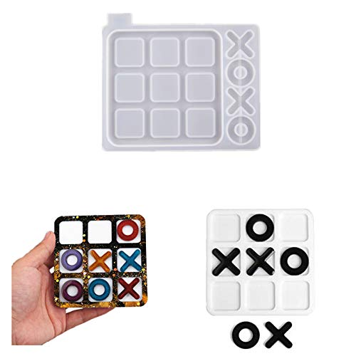 Cashger Tic Tac Toe Game Resin Molds, Board Travel Game Silicone Mold for Epoxy Resin Game Casting Tray Mold DIY Making (Small)