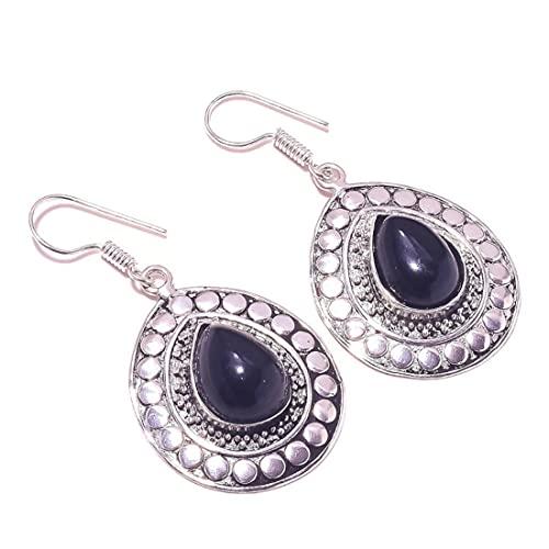 Pendientes colgantes hechos a mano con piedra preciosa de cabujón de ónix negro para mujer