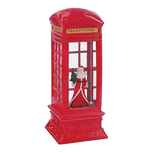 The Christmas Workshop 71630 Père Noël à l'intérieur d'une Cabine téléphonique, décorations de Noël intérieures, 2 LED Blanc Chaud, Fonctionne à Piles, 10,5 x 10,5 x 26,5 cm, Rouge