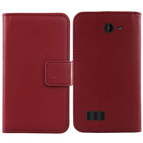 QHTTN Dark Rot Echt Leder Tasche Hülle Für Archos Saphir 50X 5 Lederhülle Handyhülle Schutzhülle Klapphülle Handytasche Flip Premium Handy Schale Etui Brieftasche Cover Hülle