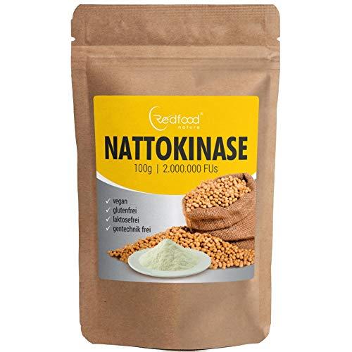 Nattokinase Pulver 100g Packung 2.000.000 FU´s hohe Bioverfügbarkeit ohne Magnesiumstearat ohne K1 K2 mit Analyse Zertifikat
