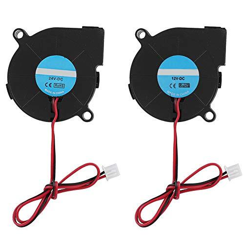 ASHATA 3D Drucker Lüfter, 50x50x15mm Radial Lüfter Turbine Gebläse Heizkörper Lüfter,Super Belüftung Turbo Fan Gebläse Kühlung Kühlkörper DIY Kit für 3D Drucker Schwarz(24V)