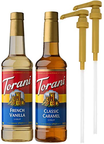 Torani French Vanilla and Classic Caramel Coffee Syrup Flavoring, 750 ML Bottle (Pack of 2) with 2 By The Cup Coffee Syrup Pumps