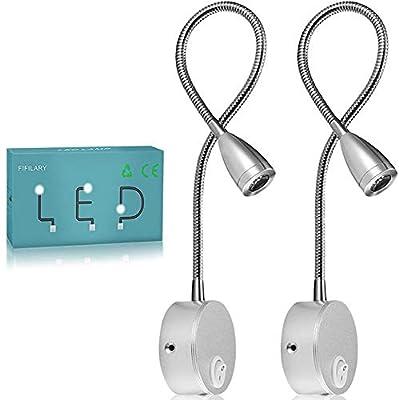 BRAZO LARGO Y FLEXIBLE: las luces de lectura son ajustables a 360 °, tienen un cuello súper largo de 38 cm, fácil de maniobrar para obtener el ángulo deseado. Esta lámpara de dormitorio es perfecta para hacer luces cuando estás sentado o acostado en ...