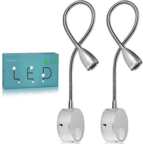 Lámpara de lectura,luz de pared LED de 2 piezas,luz de noche con recubrimiento de aluminio y con cable blanco cálido,200 LM/3000K/3W,ángulo del haz:30°,longitud del brazo:38 cm (plata, 2 piezas)