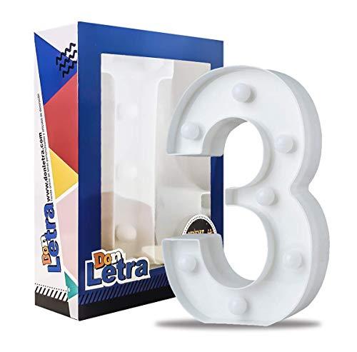 DON LETRA - Números Decoración LED Números Decorativos con LED Lámparas Decoradas LED Luces Decorativas LED Luz de Decoración Diseño de Números 0-9 Color Blanco (3)