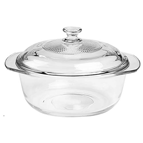 QTQHOME Clear Glass Round Baking Dish With Lid,Heat Cold Proof Salad Bowl Microwave Oven Freezer & Dishwasher Safe,Deep Casserole Dish With Handles-Round 19.5x19.5x15cm(8x8x6inch)