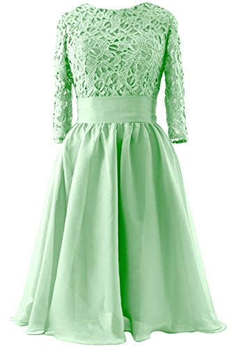 MACloth Women 3/4 Sleeve Lace Short Mother of Bride Dress Formal Evening Gown (40, Mint)