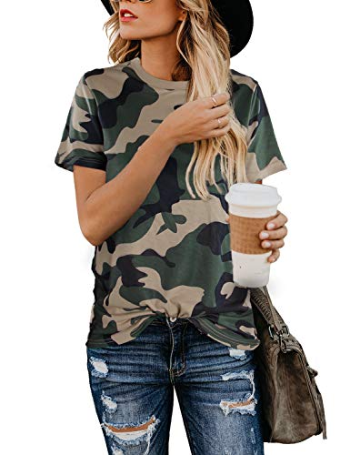 BMJL Leoparden Oberteil Damen Hemd Kurzarm T Shirt Bluse Damen Elegant Top Leopardenmuster (L, Tarnmuster)