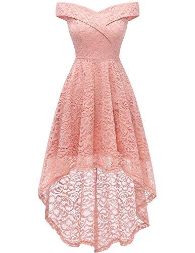 Homrain Vestido Cóctel Vintage A-línea Hi-Lo Elegante Encaje Fiesta Noche Vestido para Mujer Blush S