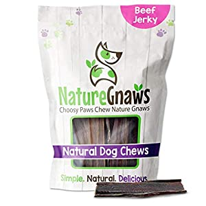 Nature Gnaws Beef Jerky Chews for Small Dogs – Premium Natural Beef Gullet Sticks – Simple Single Ingredient Tasty Dog Chew Treats – Rawhide Free – 4-5 Inch (10 Count)